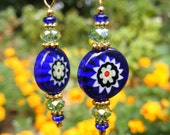 Blue and Green Flower Disc Earrings