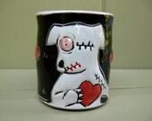 Zombie Dog Mug, Small, With Hearts