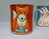 RESERVED Fox Mug, Red And Orange