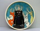 Woodland Animal Plate With Antler, Blue