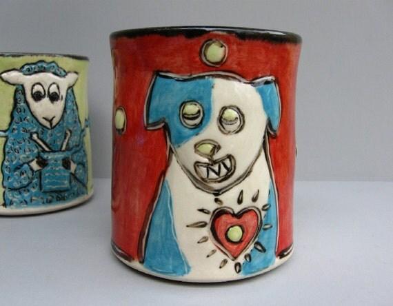 Dog Mug, Red, Dog Loves Ball