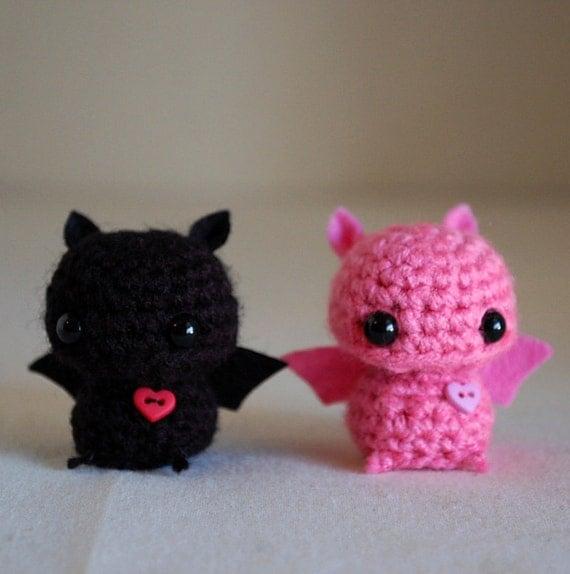 RESERVED Listing 2 Mini Bat Amigurumi Pink and Black