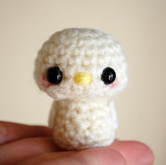 Baby Bird Amigurumi : White Baby Bird Kawaii Mini Amigurumi by twistyfishies on Etsy