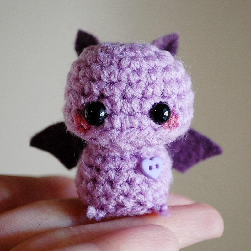 Amigurumi Kitty Mini : Mini Amigurumi Purple Bat Kawaii Halloween by twistyfishies