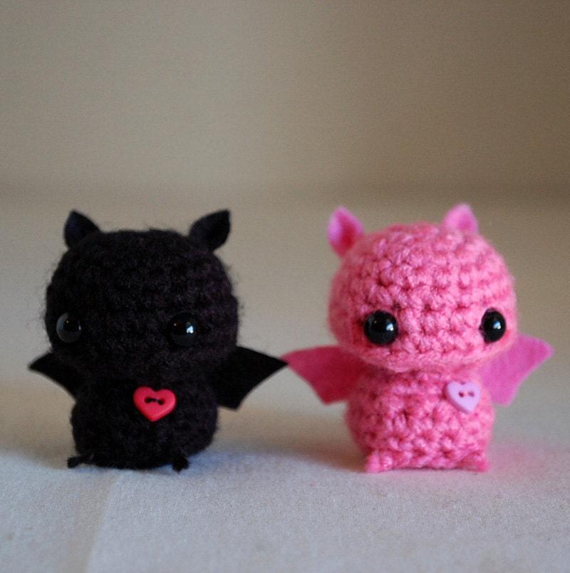 Make Amigurumi Bat Crochet : RESERVED Listing 2 Mini Bat Amigurumi Pink and Black