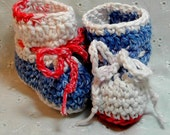 Crochet all cotton baby booties in red white and blue newborn size
