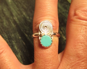 Sterling Silver Turquoise Ring - Size 9 1/2 - FREE RESIZING