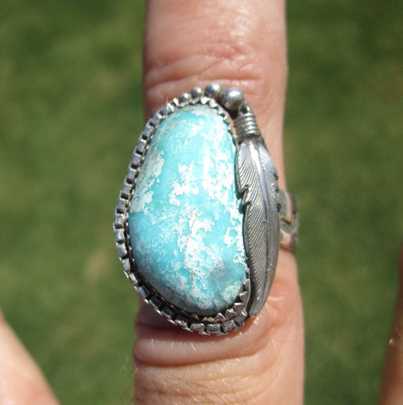 Western Sterling Silver Turquoise Ring - Size 8 - OCEAN FLOOR BEAUTY