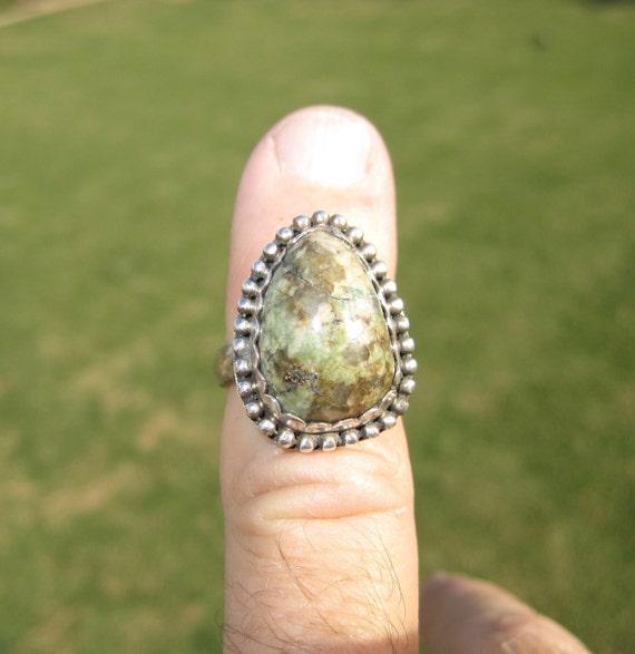 Sterling Silver Green Jasper Ring - Size 5 - MAJOR PRICE REDUCTION