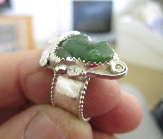 Sterling Silver Jade Frog Theme Ring - Size 8 1/4 - MAJOR PRICE REDUCTION
