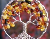Tree of Life Pendant - Autumn - Amber