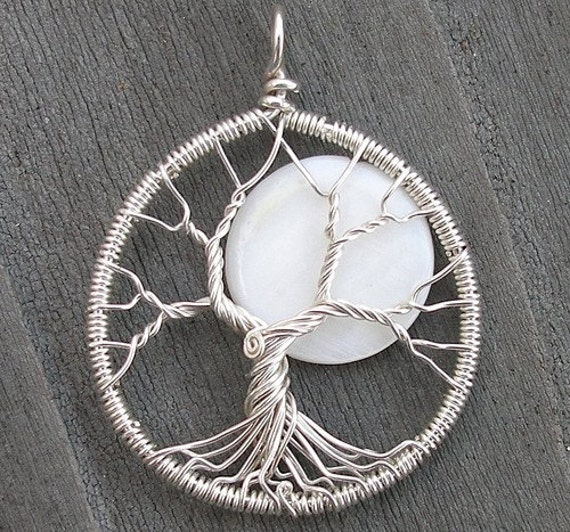 Moon Tree Sterling Silver and MOP Pendant - Custom for Peter