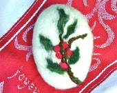 Felted Soap Holly Christmas White Tea and Ginger Holiday Hostess Gift