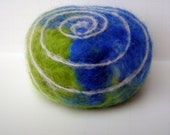 Earth Day Swirl Felted Soap Handmade Organic Goats Milk Mothers Day Eco Friendly Green Blue
