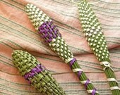 French Lavender Wand Woven Organic Sachet Potpourri Purple and Celadon Green Ribbon