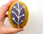 Felted Soap Budding Twig on Mustard Handmade Lemongrass Coconut Shea Butter