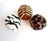 Safari Print Trio Felted Soap Organic Goat Milk Eco Friendly Soap in a Wool Sweater Save The Rhino Trust
