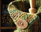Walden Pond Cowl Handspun Handknit with Brooch