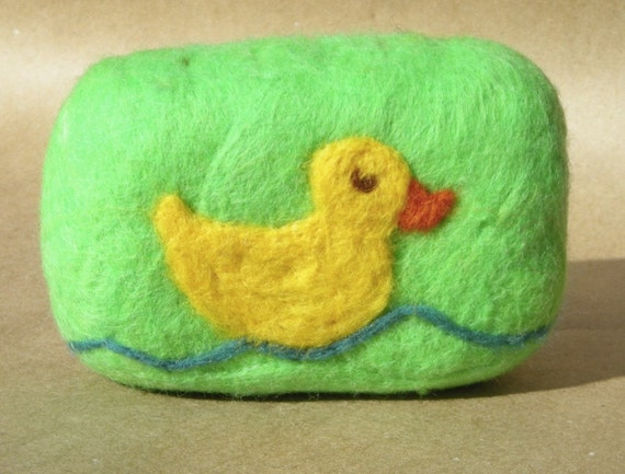 Organic Felted Baby Soap with Rubber Ducky Design