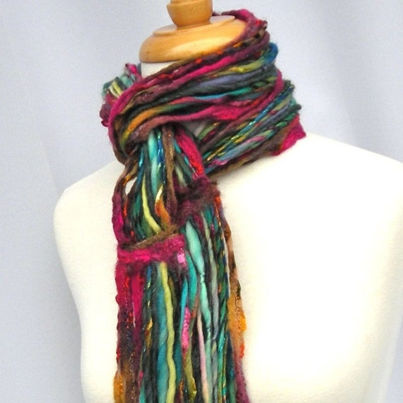 Fiesta Scarf Felted Fringe Bohemian Multi Strands from Handspun Art Yarns