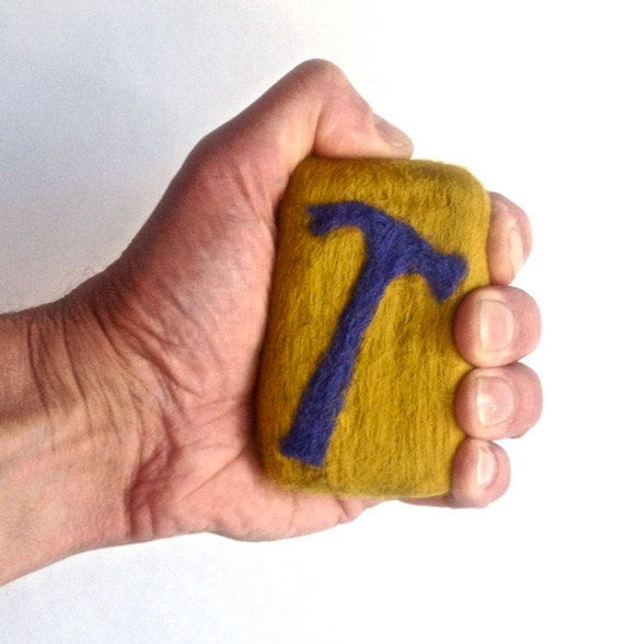 Hammer Organic Felted Soap Guy Gift Blue on Mustard Handyman Edition