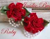 RUBY Red or BURGUNDY Rosette with Pearls