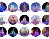 INSTANT DONWLOAD...Princess Castle 1 Inch Circle Image Collage for Bottle Caps...Buy 3 get 1