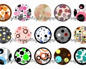 INSTANT DOWNLOAD...Abstract Dots and Designs 1 Inch Circle Images Collage Sheet for Bottle Caps ...Buy 3 get 1