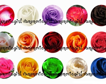 INSTANT DOWNLOAD...Beautiful Roses 1 Inch Circle Image Collage for Bottle Caps...Buy 3 get 1