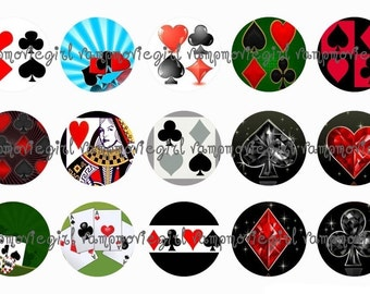 INSTANT DOWNLOAD...Card Suits 1 Inch Circle Image Collage for Bottle Caps...Buy 3 get 1