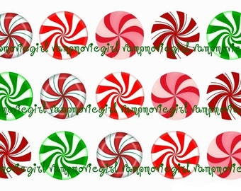 INSTANT DOWNLOAD...Peppermint Swirls 1 Inch Circle Image Collage for Bottle Caps...Buy 3 get 1