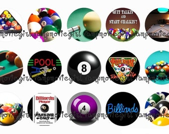 INSTANT DOWNLOAD...Pool... Billiards 1 Inch Circle Image Collage for Bottle Caps...Buy 3 get 1