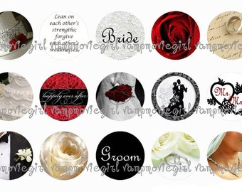 INSTANT DOWNLOAD...Wedding 1 Inch Circle Images Collage Sheet for Bottle Caps ...Buy 3 get 1