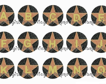 INSTANT DOWNLOAD...Hollywood Walk of Fame Star Alphabet 1 Inch Circle Image Collage for Bottle Caps...Buy 3 get 1