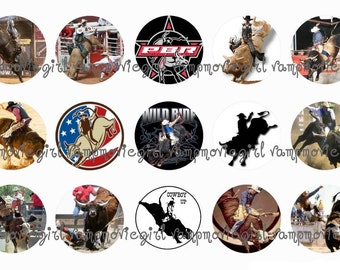 INSTANT DOWNLOAD...Bull Rider ... 1 Inch Circle Image Collage for Bottle Caps...Buy 3 get 1