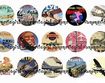 INSTANT DOWNLOAD...Vintage Airplanes and Aircraft 1 Inch Circle Image Collage for Bottle Caps...Buy 3 get 1