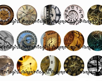 INSTANT DOWNLOAD...Time Clocks 1 Inch Circle Image Collage for Bottle Caps...Buy 3 get 1