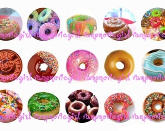 INSTANT DOWNLOAD...Delicious Donuts.... Doughnuts 1 Inch Circle Images Collage Sheet for Bottle Caps ...Buy 3 get 1