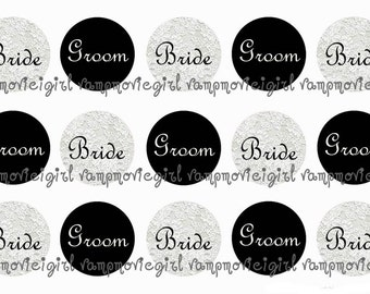 INSTANT DOWNLOAD...Wedding... Bride and Groom 1 Inch Circle Images Collage Sheet for Bottle Caps ...Buy 3 get 1