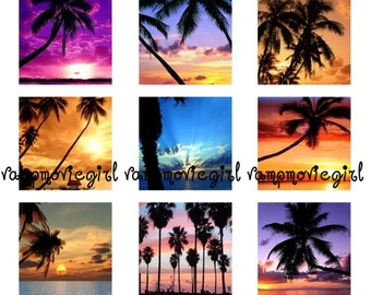 INSTANT DOWNLOAD...Beach Sunsets and Palm Trees... 1 Inch Square Images Collage Sheet for Glass Pendants ...Buy 3 get 1