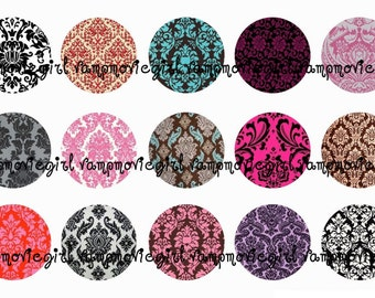 INSTANT DOWNLOAD...Damask...... 1 Inch Circle Image Collage for Bottle Caps...Buy 3 get 1