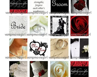 INSTANT DOWNLOAD...Wedding... Scrabble Tile Images Collage Sheet for Pendants ...Buy 3 get 1