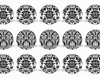 INSTANT DOWNLOAD...Black and White Damask...... 1 Inch Circle Image Collage for Bottle Caps...Buy 3 get 1