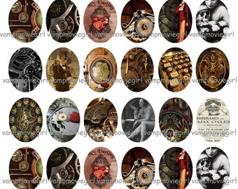 INSTANT DOWNLOAD...Steampunk... 30x40mm Oval Images Collage Sheet for Pendants ...Buy 3 get 1