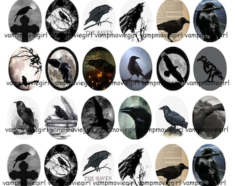 INSTANT DOWNLOAD...The Raven... 18x25mm Oval Images Collage Sheet for Pendants ...Buy 3 get 1