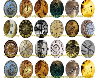 INSTANT DOWNLOAD...Time Clocks 30x40mm Oval Images Collage Sheet for Pendants ...Buy 3 get 1