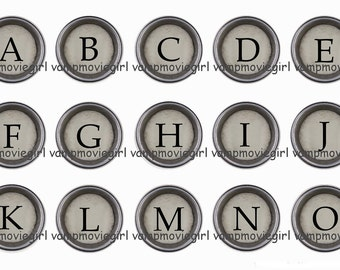 INSTANT DOWNLOAD... Typewriter Keys Alphabet 1 Inch Circle Image Collage for Bottle Caps...Buy 3 get 1