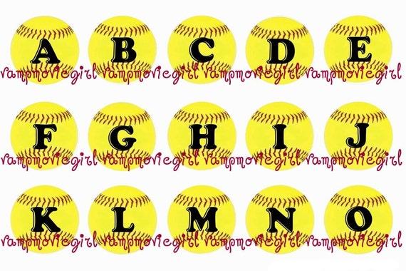 Yellow Softball Image Yellow Softball Initials