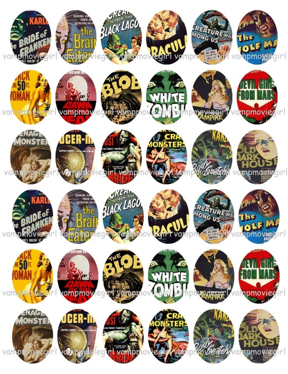 INSTANT DOWNLOAD...Retro Horror... 18X25mm Oval Images Collage Sheet for Pendants ...Buy 3 get 1