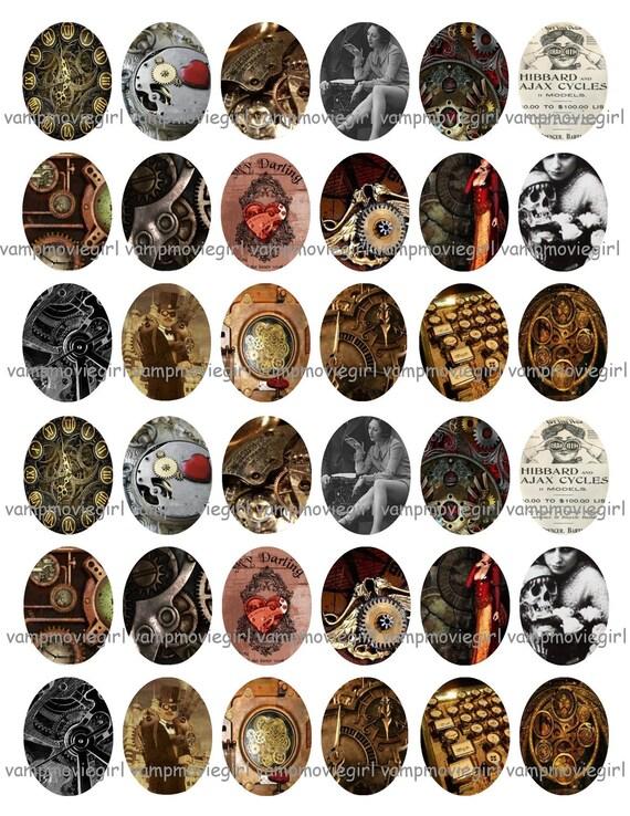 sofort download steampunk 18x25mm ovale bilder collage. Black Bedroom Furniture Sets. Home Design Ideas